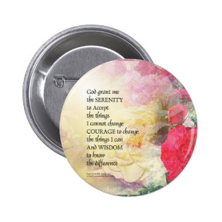 Serenity Prayer Peonies and Roses Pinback Button