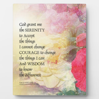 Serenity Prayer Peonies and Roses Plaque