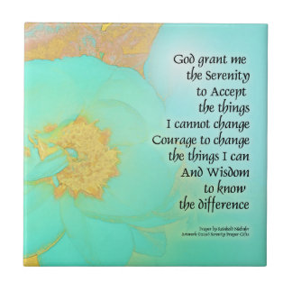 Serenity Prayer Peonies Yellow Green Ceramic Tile