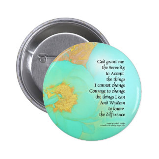 Serenity Prayer Peonies Yellow Green Pinback Button