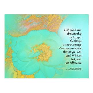 Serenity Prayer Peonies Yellow Green Postcard