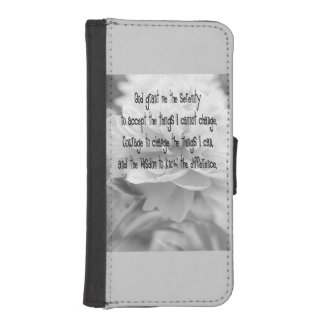 Serenity Prayer Peony Wallet Phone Case For iPhone SE/5/5s