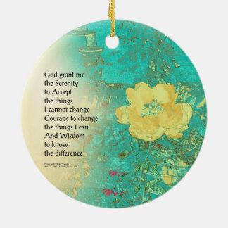 Serenity Prayer Peony Yellow Turquoise Ceramic Ornament