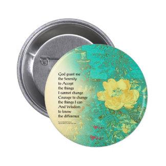Serenity Prayer Peony Yellow Turquoise Pinback Button