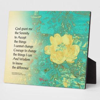 Serenity Prayer Peony Yellow Turquoise Plaque