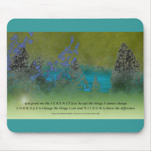 Serenity Prayer Petals and Trees Mouse Pad