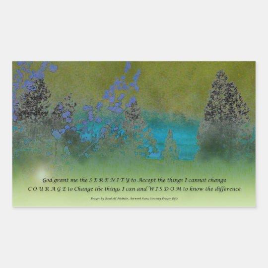 Serenity Prayer Petals and Trees Rectangular Sticker
