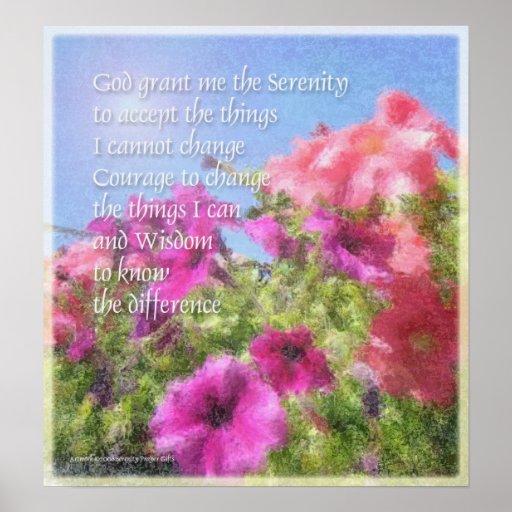 Serenity Prayer Petunias Poster