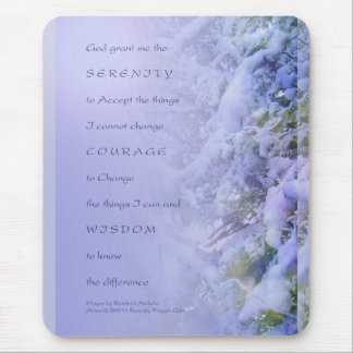 Serenity Prayer Pine Branches and Snow Mouse Pad
