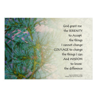 Serenity Prayer Pine Branches Poster