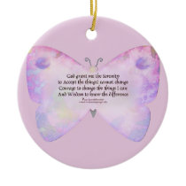 Serenity Prayer Pink and Lavender Butterfly Ceramic Ornament