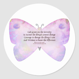 Serenity Prayer Pink and Lavender Butterfly Classic Round Sticker