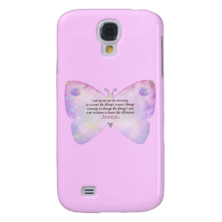 Serenity Prayer Pink and Lavender Butterfly Galaxy S4 Cover