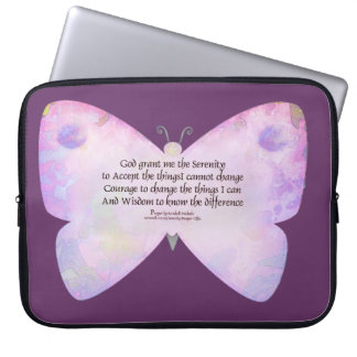 Serenity Prayer Pink and Lavender Butterfly Laptop Sleeves
