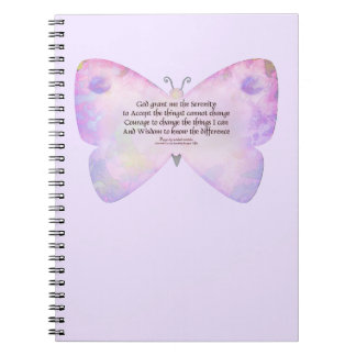 Serenity Prayer Pink and Lavender Butterfly Spiral Note Books