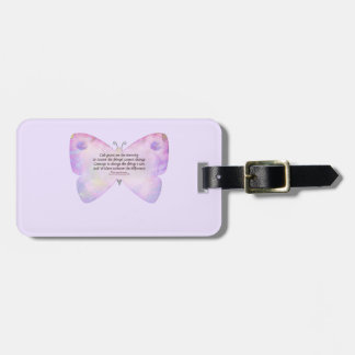 Serenity Prayer Pink and Lavender Butterfly Tags For Luggage