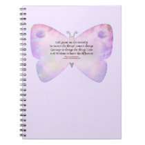 Serenity Prayer Pink and Lavender Butterfly Notebook