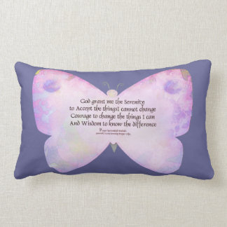 Serenity Prayer Pink and Lavender Butterfly Throw Pillows