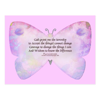 Serenity Prayer Pink and Lavender Butterfly Postcard