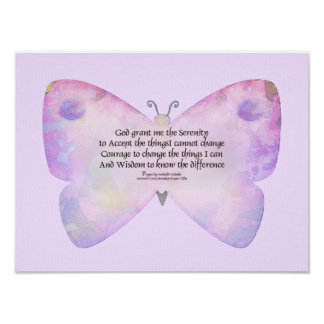 Serenity Prayer Pink and Lavender Butterfly Poster
