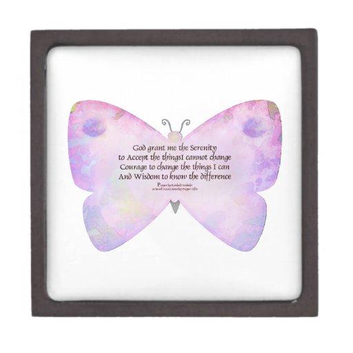 Serenity Prayer Pink and Lavender Butterfly Premium Keepsake Box