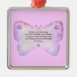 Serenity Prayer Pink and Lavender Butterfly Square Metal Christmas Ornament