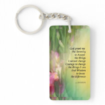 Serenity Prayer Pink and Red Irises Keychain