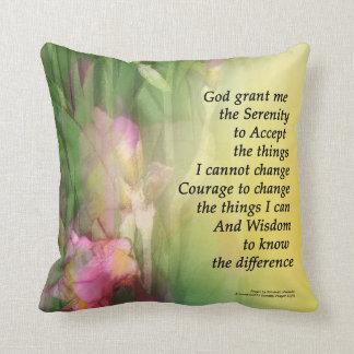 Serenity Prayer Pink and Red Irises Pillow