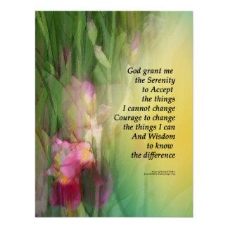 Serenity Prayer Pink and Red Irises Posters