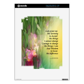 Serenity Prayer Pink and Red Irises Skins For iPad 2