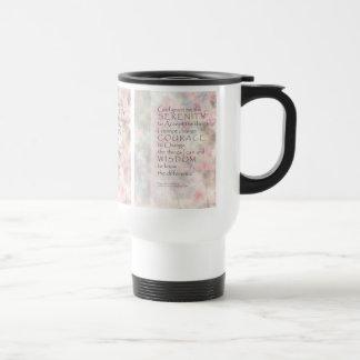 Serenity Prayer Pink Blossoms & Barn Travel Mug