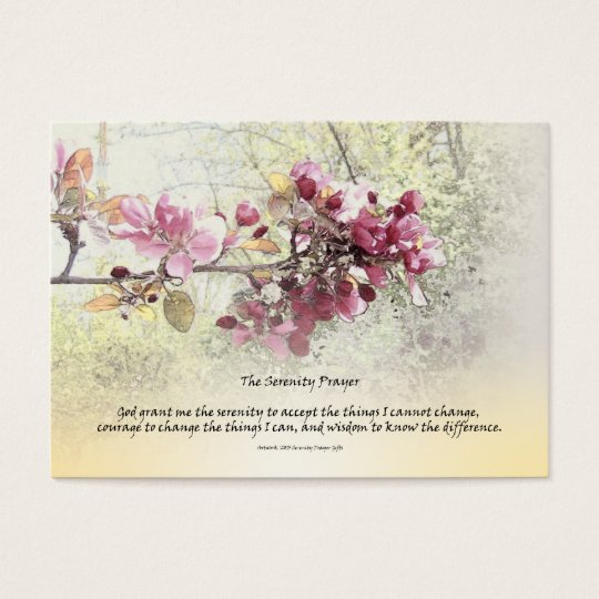 Serenity Prayer Pink Blossoms Business Card