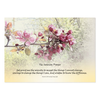 Serenity Prayer Pink Blossoms Business Card Templates