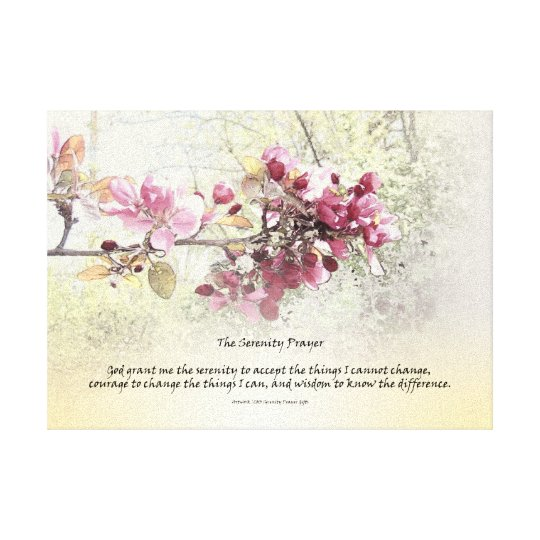 Serenity Prayer Pink Blossoms Canvas Print