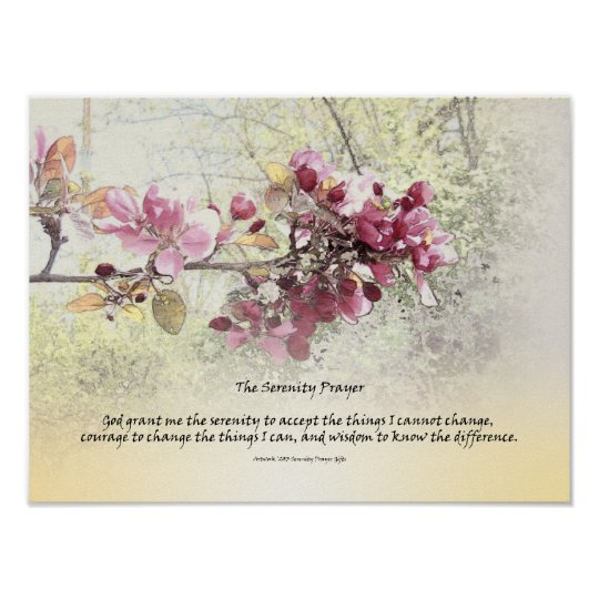 Serenity Prayer Pink Blossoms Poster