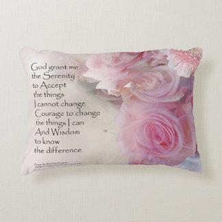 Serenity Prayer Pink Bouquet Accent Pillow