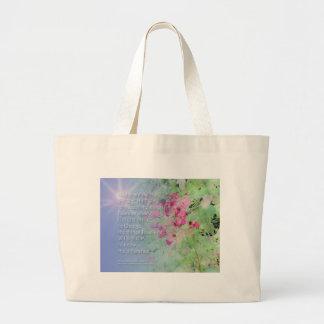 Serenity Prayer Pink Flowers Large Tote Bag