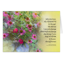 Serenity Prayer Pink Flowers on Yellow