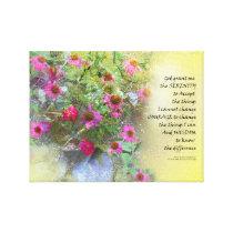 Serenity Prayer Pink Flowers on Yellow Canvas Print