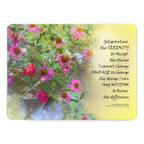 Serenity Prayer Pink Flowers on Yellow Invitation