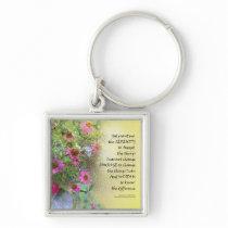 Serenity Prayer Pink Flowers on Yellow Keychain
