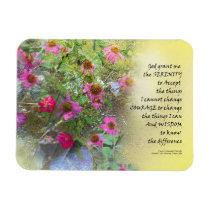 Serenity Prayer Pink Flowers on Yellow Magnet