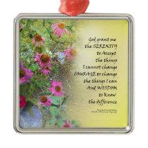 Serenity Prayer Pink Flowers on Yellow Metal Ornament