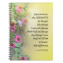 Serenity Prayer Pink Flowers on Yellow Notebook