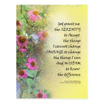 Serenity Prayer Pink Flowers on Yellow Postcard