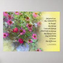 Serenity Prayer Pink Flowers on Yellow Poster