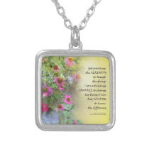 Serenity Prayer Pink Flowers on Yellow Silver Plated Necklace