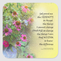 Serenity Prayer Pink Flowers on Yellow Square Sticker