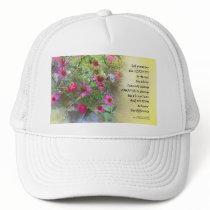 Serenity Prayer Pink Flowers on Yellow Trucker Hat