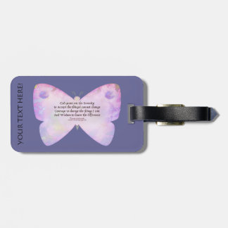 Serenity Prayer Pink Lavender Butterfly Luggage Tag